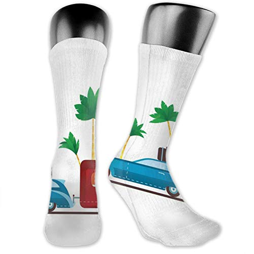 Men women Socks,Colorful Travel Cartoon Tropical Palm Trees With Retro Vehicle And Suitcase,Funky Socks Fashion Patterned Fun
