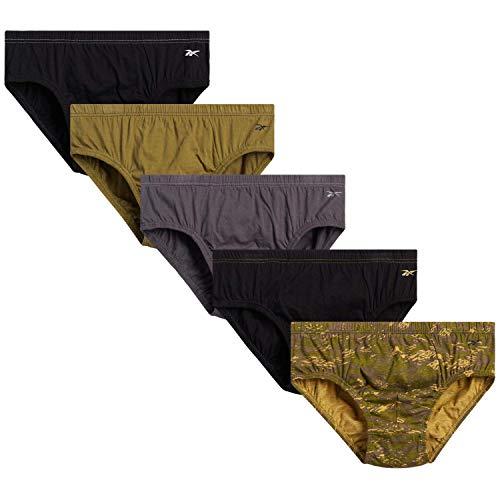 Reebok Men's Low Rise Underwear Briefs (5 Pack), Size Large, Blacks/Greys