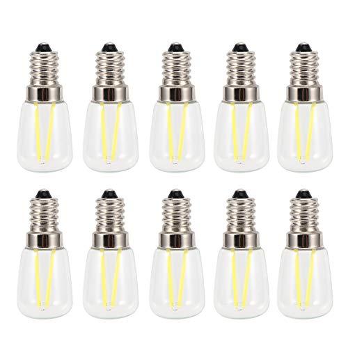 Raguso Lampadina da 10 Pezzi, Lampadina a filamento Lungo Pratica Lampadina a Risparmio energetico E14 da 1,5 W AC230V per Illuminazione Notturna
