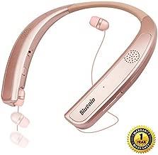 Bluetooth Headphones Speaker 2 in 1,Bluenin Neckband Wireless Headset Wearable Speaker True 3D Stereo Sound Sweatproof Headphones with Retractable Earbuds Built-in Microphone (Rose Gold)