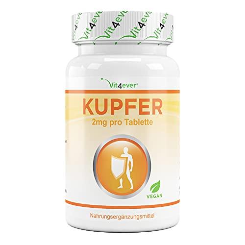Cobre - 365 comprimidos con 2 mg cada uno - Suministro para 1 año - Alta biodisponibilidad - Gluconato de cobre - Altamente dosificado - Vegano - Sin aditivos indeseables