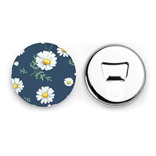 Daisy Round Bottle Openers/Fridge Magnets Stainless Steel Corkscrew Magnetic Sticker 2 Pcs
