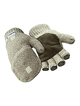 RefrigiWear Thinsulate Insulated Ragg Wool Convertible Mitten Fingerless Gloves with Suede Palm  Brown Large
