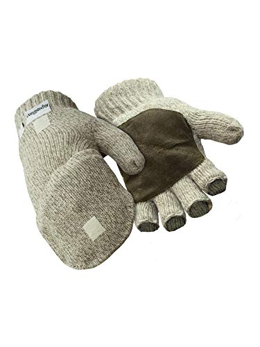 RefrigiWear Thinsulate Insulated Ragg Wool Convertible Mitten Fingerless Gloves with Suede Palm (Brown, Large)