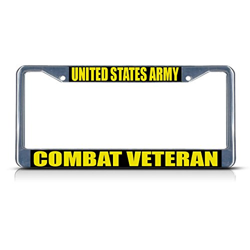 United States Army Combat Veteran Metal License Plate Frame Tag Border Two Holes Perfect for Men Women Car garadge Decor