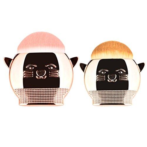 Dégagement!!!, LMMVP 2PCS Brosse de Maquillage de Chat Mignon Pinceau à Poudre Pinceau à Maquillage (1 PCS, Gros Rose Or)
