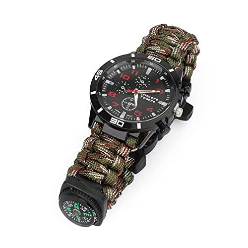 Bruce & Shark Reloj de supervivencia 5 en 1 con cuerda trenzada de paracord, con brújula, silbato y función de encendido, camuflaje verde militar