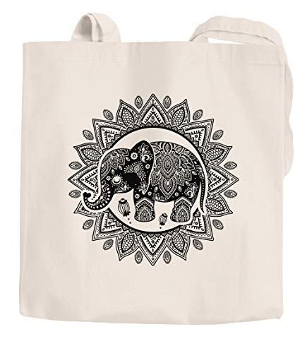 Jutebeutel Elefant Mandala Boho Bohamian Ethno Tribal Ornament Baumwolltasche Stoffbeutel Einkaufsbeutel Autiga® natur 2 lange Henkel