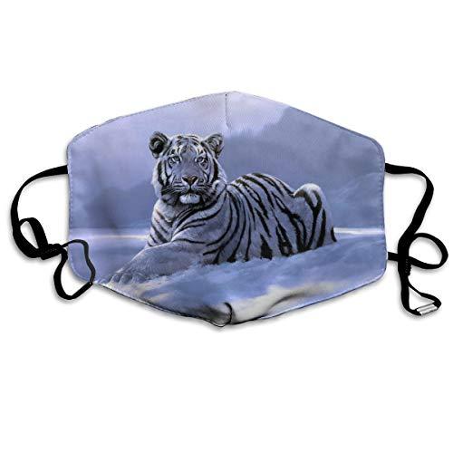 Mascarilla para la boca con tigre de nieve, ajustable, antipolvo, lava