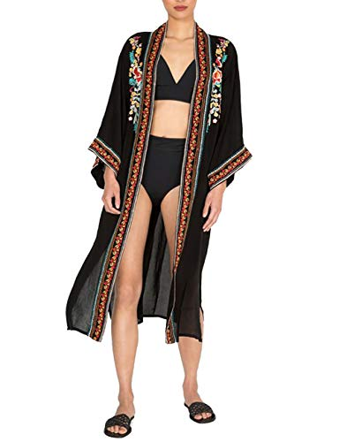 Bsubseach Mujer Kimono Cárdigan Verano Salida de Baño Estampado Negra Cubrir Bikini Camisola y Pareos