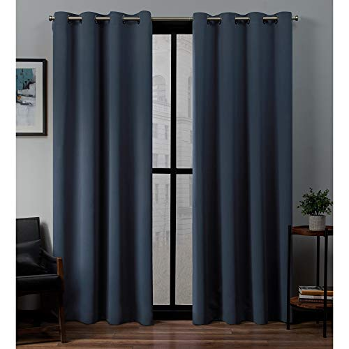 Exclusive Home Curtains Sateen Twill Woven Blackout Grommet Top Curtain Panel Pair, 52x84, Vintage Indigo