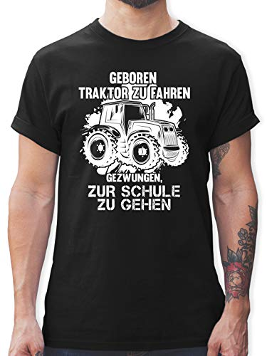 Andere Fahrzeuge - Geboren um Traktor zu Fahren - M - Schwarz - socken mit Traktor - L190 - Tshirt Herren und Männer T-Shirts