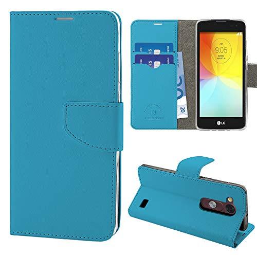 N Newtop Schutzhülle kompatibel mit LG L Fino, HQ Seitliche Hülle Buch Flip Magnetverschluss Brieftasche Kunstleder Stand (blau)