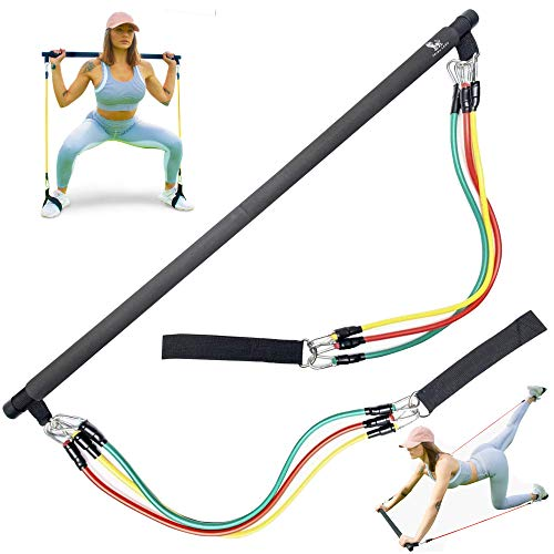 Tribu León Pilates Bar Resistance Bands Set | Exercise Bands for Men & Women | Home Gym Workout | Portable Exercise Equipment | Pilates Flexbands Set | Weights | Total Gym Equipment for Home | Fitness