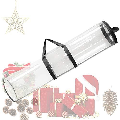 VKTY Geschenkpapier-Aufbewahrungstasche, Geschenkpapier, Organizer, Aufbewahrung, 24 Rollen, 101,6 cm Geschenkpapierrollen, durchsichtige Kunststoffverpackungsbehälter mit Griffen und Reißverschluss