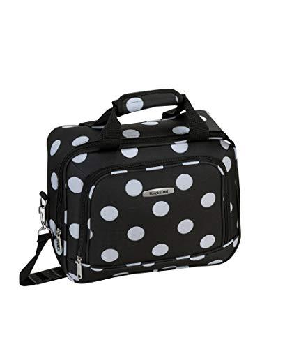 Rockland Polka Softside Upright Luggage Set, Black Dot, 4-Piece (14/19/24/28)