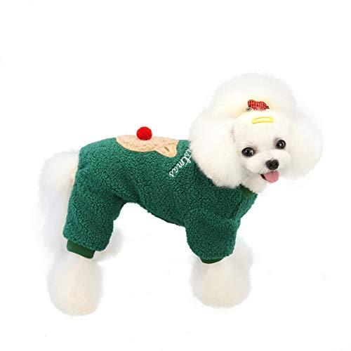 KINGBOO Pet Dog Christmas Sweater Vest,Puppy Cat Reindeer Fleece Outfit Xmas Costume Warm Coat Green XL