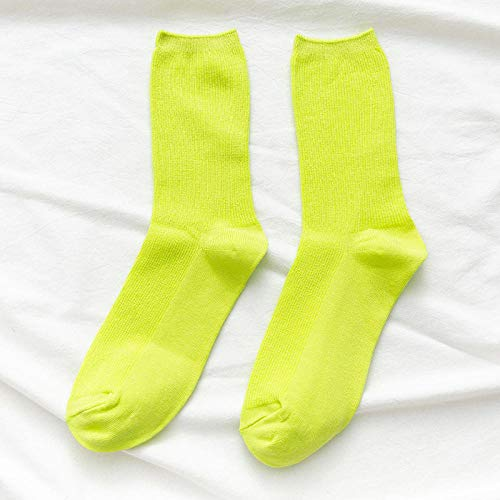 POYANG 2 Pares de Calcetines de Color Calcetines de Tubo para Mujer Medias Finas de Moda Calcetines de Color Caramelo-Verde Fluorescente