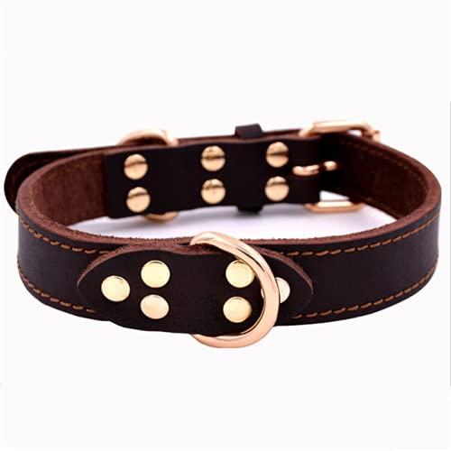 Collar de Cuero de PU para Perro, cómodo, Simple Collar para Mascotas para Perros de tamaño Mediano y Grande, Accesorios para Mascotas, marrón, L
