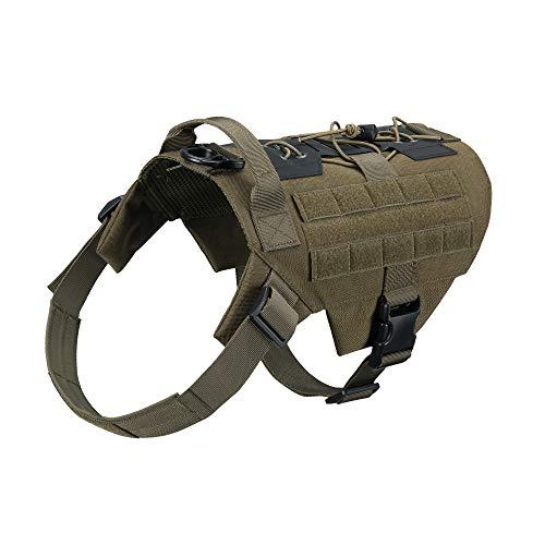 EXCELLENT ELITE SPANKER Hundeweste Molle für Kleine Mittlere Große Hunde Militärische Atmungsaktiv No Pull Hundegeschirr(Olivgrün-M)
