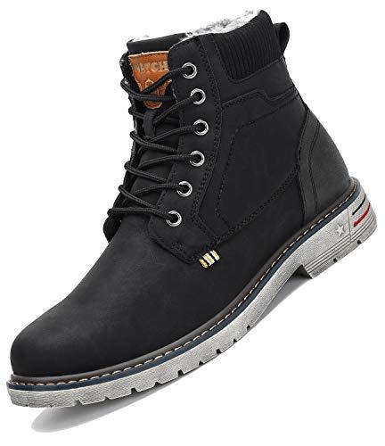 Botas de Nieve Hombre Antideslizante Invierno Botines Calientes Trekking Aire Libre Zapatos Negro 43