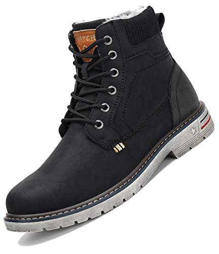 Botas de Nieve Hombre Antideslizante Invierno Botines Calientes Trekking Aire Libre Zapatos Negro 44