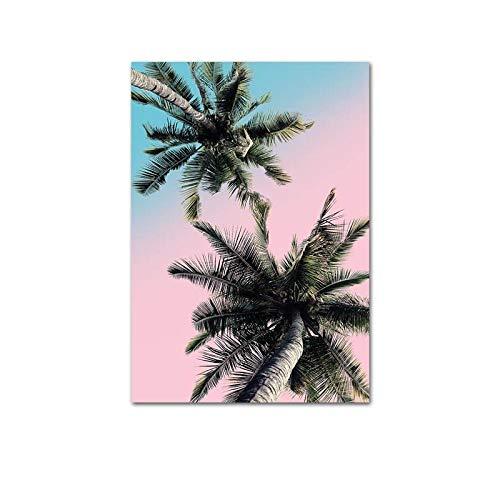 U/N Rosa Ozean-Strand-Palmen-Leinwand-Plakat Nordische Natur-Seestück-Wandkunst-Druck-Malerei-Hauptdekoration Bild-1