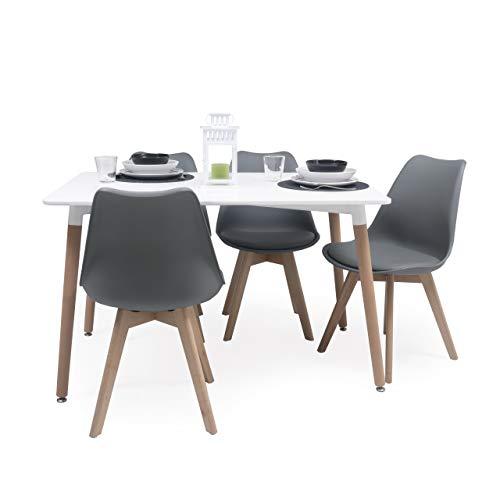 Conjunto de Comedor Tower Day 120 con Mesa lacada Blanca de 120x80 cm y 4 sillas Day (Gris Oscuro)