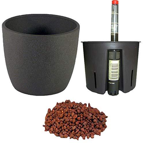 Set4 4 teilig für Hydrokultur Blumentopf Keramik Mallorca 11/09 anthrazit Ø 12,5 cm H 12 cm mit Blähton