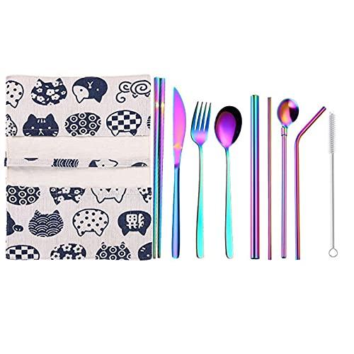 ESTone - Juego de vajilla portátil de acero inoxidable 9 piezas arco iris para el hogar Kid Cena cuchillo Tenedor cucharadas bolsa de paja bolsa vajilla