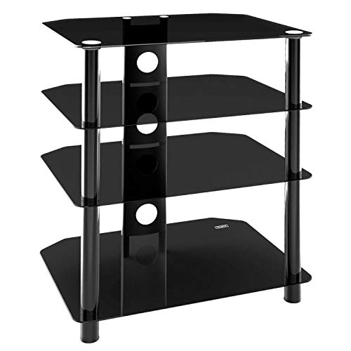 TekBox 4 Tier Glass TV Stand - Black Television Unit for Hi-Fi DVD Sky Box Console Entertainment Systems