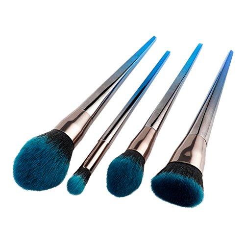 FRCOLOR 4 Pcs Professionnel Pinceaux de Maquillage Set Poudre Fondation Contour Blending Ombre à Paupières Fard À Joues Synthétique Kit (Bleu Et Noir)