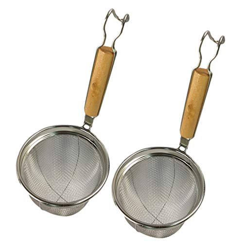 UPKOCH Cestello per Spaghetti Gnocchi di Spaghetti Ragno in Maglia 2 Pezzi, cestello per filtri in Acciaio Inossidabile con Manico in bambù, Ideale per Pasta, Noodles, Frutta