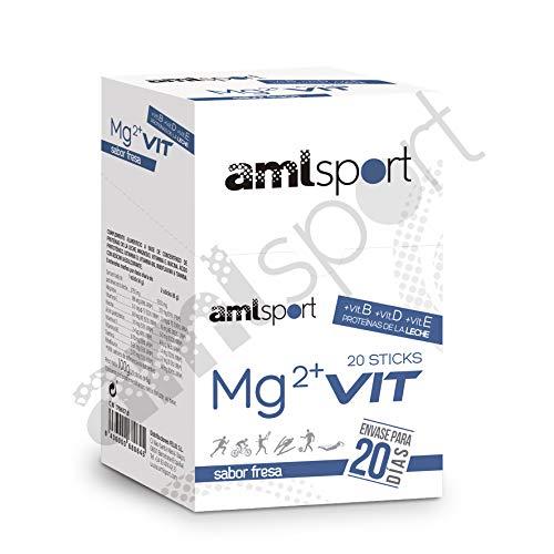 AMLsport - Mg2 + vit (b, d, e) – 20 sticks de 4 g (sabor fresa) aporte de proteínas, vitaminas y minerales. Envase para 20 días de tratamiento.