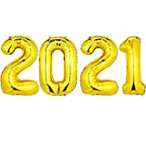 Juego de Globos 2021 Globos de Número de Papel Aluminio 40 Pulgadas Globos de Graduación 2021 Globos de 2021 Año Nuevo Decoración para Fiesta (Dorado)