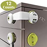 Cabinet Locks Child Safety, No Drill Child Proof Lock, Adhesive Baby Safety Latches Childproof Toddlers Proofing 12PCS for Drawer, Dresser, Fridge, Refrigerator, Freezer, Closet, Trash, Cupboard