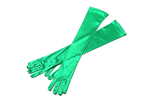 Utopiat Audrey Styled Replica Holly Golightly Satin Opera Gloves for Women | Classic Long Gloves Elbow Length | Long Flapper Evening Glove | Accessories for Girls | Color-Green