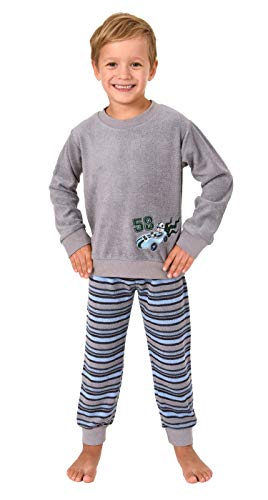 Jungen Kleinkinder Frottee Pyjama Langarm mit Bündchen und niedlichen Renn - Auto Motiv, Farbe:grau, Größe:116