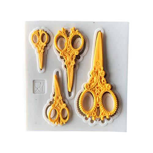 Vintage Silicone Gold Tools Ciseaux en Forme De Cupcake Fondant Gâteau Moule Bakeware Gâteau Décor Moules Outils