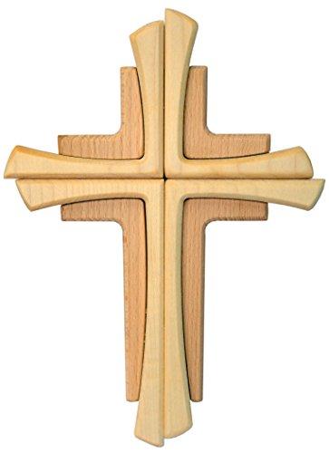 Kaltner Präsente Geschenkidee - Wandkreuz Echtes Holz Buche Kreuz Kruzifix für die Wand 35 cm modern