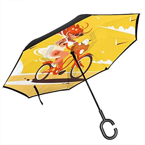 JOJOshop Meisje Rijden Op Fiets C Vorm Handvat voor Auto gebruik, Winddicht en Waterdicht Omgekeerde Vouwen Lichtgewicht Paraplu's