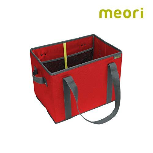 Faltbarer Einkaufskorb Hibiscus Red/Uni 37x26x28cm abwischbar stabil Polyester umweltfreundlich Shopper Lebensmittel Markt platzsparend Verstauen
