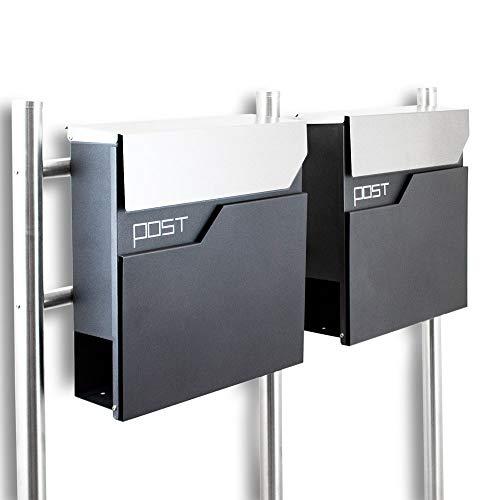 BITUXX® Design Doppel Standbriefkasten 16783 Briefkasten Briefkastenanlage Freistehender Postkasten mit Zeitungsfach Anthrazit Graphit Edelstahl