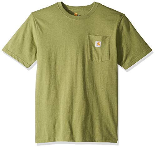 Carhartt Men's K87 Workwear Pocket Short Sleeve T-Shirt (Regular and Big & Tall Sizes), Oil green heather, 2X-Large