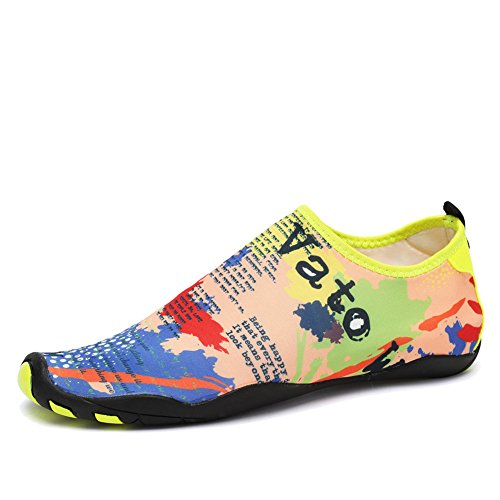 CIOR Water Shoes Men Women Aqua Shoes Barefoot Quick-Dry Swim Shoes with 14 Drainage Holes for Boating Walking Driving Lake Beach Garden Park Yoga,SYY04,Yellow,41