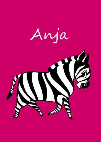 personalisiertes Malbuch / Notizbuch / Tagebuch - Anja: Zebra - A4 - blanko