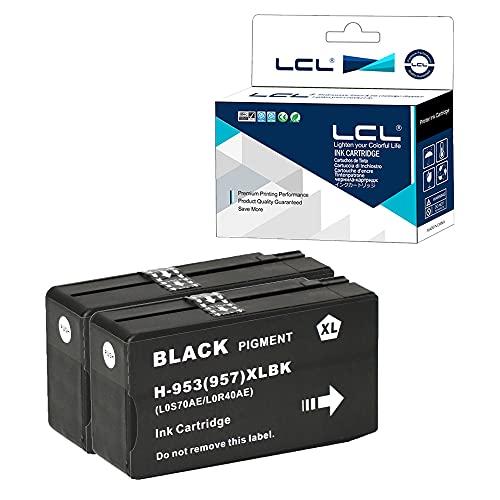 Chip Actualizado LCL Cartucho de Tinta Compatible 953XL L0S70AE High Yield (2Pack,Negro) Reemplazo para HP Officejet Pro 7730 7740 8210 8218 8710 8715 8718 8719 8720 8725 8728 8730 8740