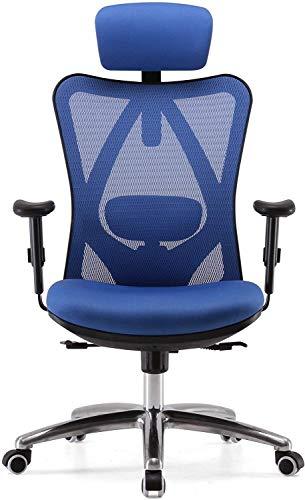 MGWA Stuhl Ergonomischer Bürostuhl Computer Schreibtischstuhl Verstellbare Kopfstütze Rückenlehne und Armlehnen Unterlehner Rückenlehne Mesh