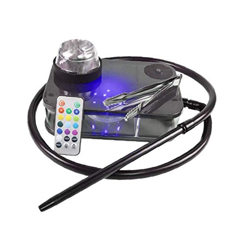 Nicedier Moderno acrílico cachimba Kit Completo portátil Shisha Nargile Fumadores de Pipa de Agua con la Caja de luz Led de Control Remoto (Negro) Artículos del Hogar