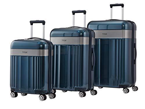 TITAN 4-Rad Koffer Größe L mit TSA Schloss, Gepäck Serie SPOTLIGHT: Edler Trolley in trendigen Farben, 831404-22, 76 cm, 102 Liter, north sea (blau)